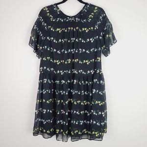 Ann Taylor Black Floral Smocked Shift Dress